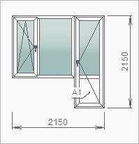 Балконный блок с дверью, глухой и поворотно-откидной створками