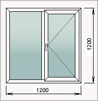 Двустворчатое окно с глухой и поворотной створками