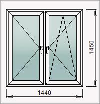 Двустворчатое окно с поворотной и поворотно-откидной створками
