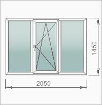 Трехстворчатое окно с двумя глухими и одной поворотно-откидной створками