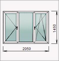 Трехстворчатое окно с одной глухой, поворотной поворотно-откидной створками