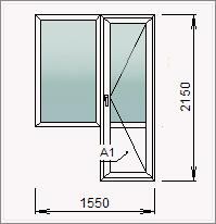 Небольшой балконный блок с дверью и глухой створкой